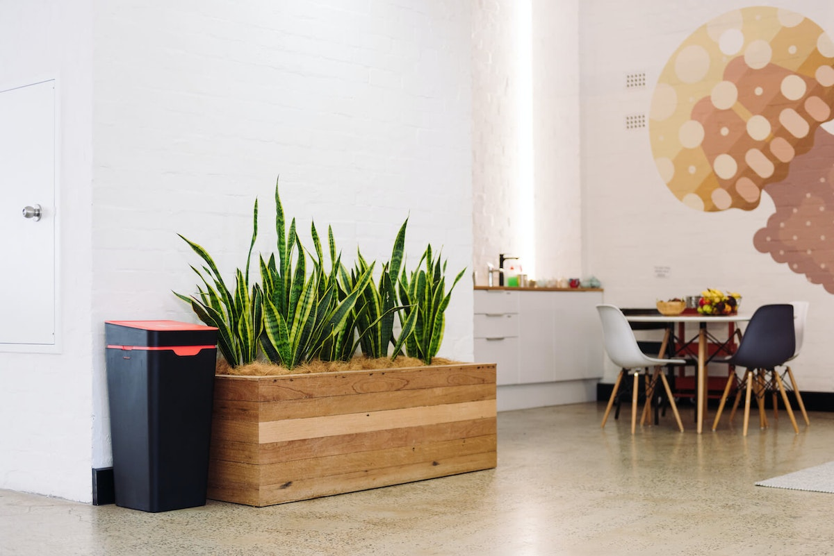 Modern recycling bins for the office