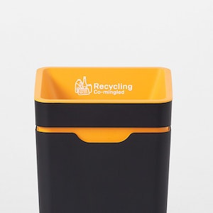 Method Office Recycling Bin - Amber Co-mingled Recycling Open